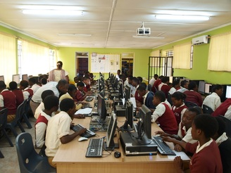 African students learning in new computer lab