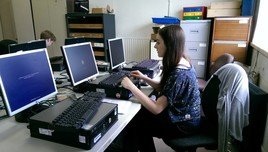 Sixth form student working with computers